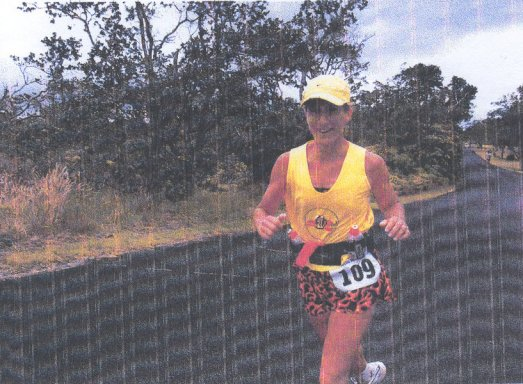 Deb Robinson running the Kilauea Volcano Marathon in Hawaii 07/31/04.