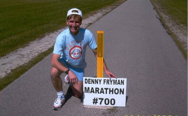 Denny Fryman finished 700th Marathon at the Rails / Trails course in Brookville, Ohio 2004.
