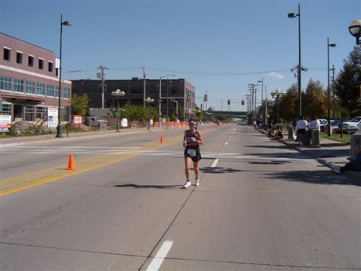 Shirley Pratt coming into the home-stretch at the QC Marathon Sept. 26th, 2004