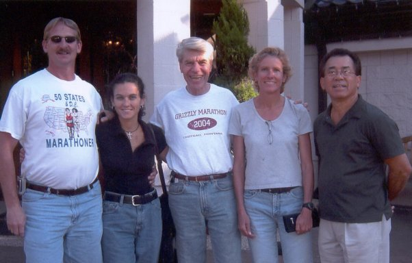 Jerry Schaver, Margherita Scott, Dan Sinigallia, Kay Evans, and Marcial Lopez in front of the Old Spaghetti Factory. 10/02/04