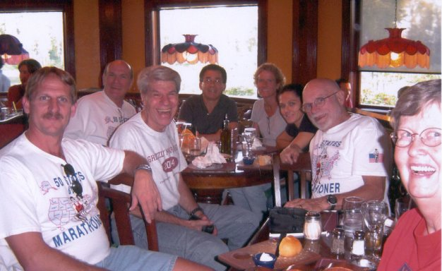 Jerry Schaver, Dan Sinigallia, Gerald Rosen, Marcial Lopez, Kay Evans, Margherita Scott, And Neil & Diane Horton eating at the Old Spaghetti Factory. 10/02/04