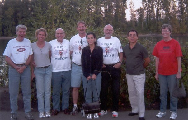 Dan Sinigallia, Kay Evans, Gerald Rosen, Jerry Schaver, Margherita Scott, Neil Horton, Marcial Lopez, And Diane Horton out back of the Old Spaghetti Factory. 10/02/04