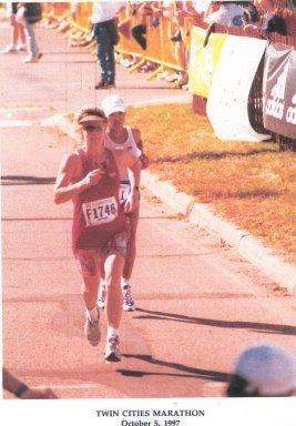 Barbara McKinley finishing the Twin Cities Marathon on Oct. 5, 1997.