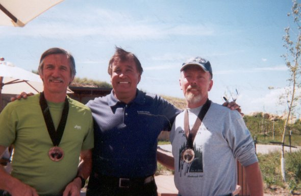 Chris Haechler, Olympian Billy Mills, and Raoul Gagne after The Deadwood Marathon in June, 2004.