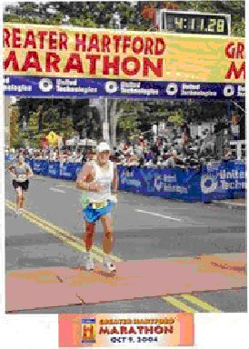 Rick Karampatsos finishing the Greater Hartford Marathon on Oct. 9 2004.