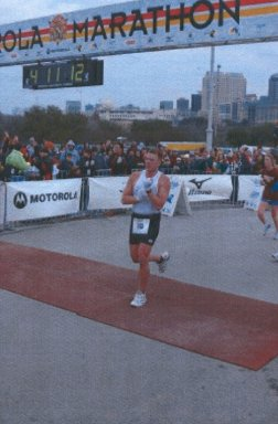 Barry Creppel Jr. finishing the Motorola Marathon in Austin, Texas on February 16, 2003. PR a 4:09:40 Great Job!!