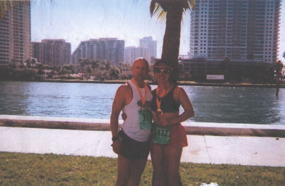 Monica and John Kimbler at the Tropical Marathon in Miami, FL