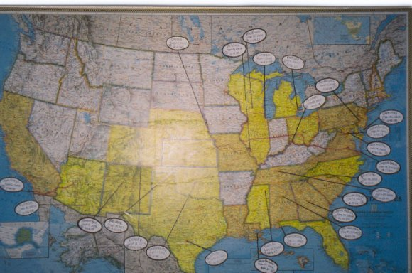 Dan VanHouten map in office 31 States in yellow have been done.