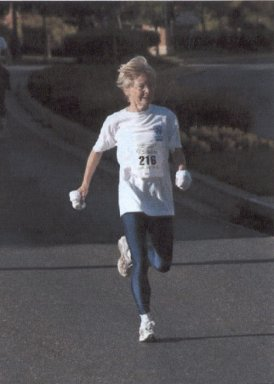 Janet Newburgh running at the Rockville 10K/5K race in October 2004.