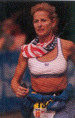 Beverly Bethart running the Hartford Marathon in 2004.