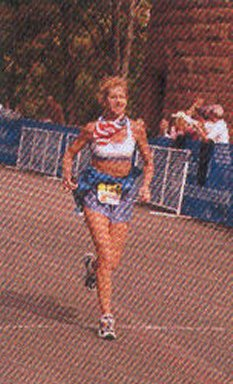 Beverly Bethart finishing the Hartford Marathon in Oct. 2004