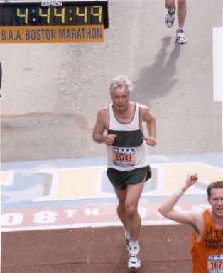 Cyrus Rhode Jr. running the 108th Boston Marathon 2004.