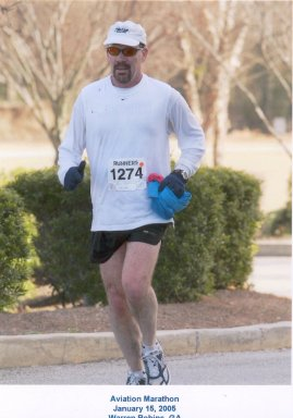 Jim Collins running the Aviation Marathon on January 15, 2005 Warren Robins, GA.
