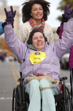 One of the Achilles athletes at the Des Moines Marathon.