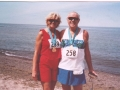 Larry and Sue Pritchard, getting some sun after finishing a Marathon.