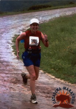 Debbra Jacobs-Robinson running the Catalina Marathon in March, 15th 2003.