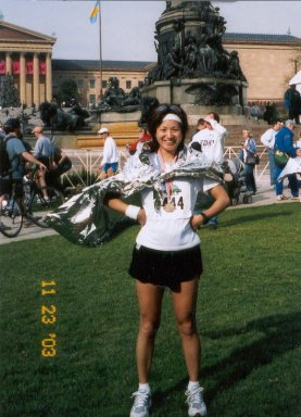 Yukiko Nishide after finishing the Philadelphia Marathon 11/23/03