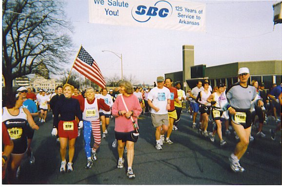 Helene, Jose, and Cathy Troisi at the Little Rock Marathon 2005.