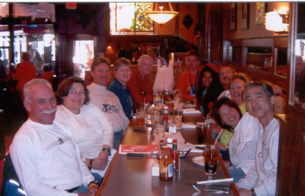 Hiroyuki & Yukiko Nishide, Jerry Schaver, Laurie Church, Mike Traynor, Ira & Geri Robinson, Jackie & Sue Duncan and Scott & Boomson Hartman at the Celebration Dinner at Calhoun's in Knoxville, TN. 3/20/05