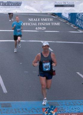 Neale Smith finishing the Portland Marathon in October 3, 2004
