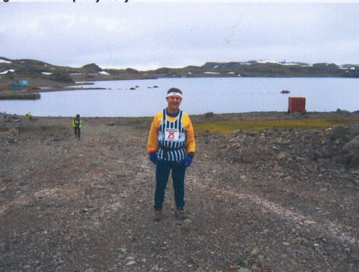 Roger Biggs at King George Island at the Antarctica Marathon.