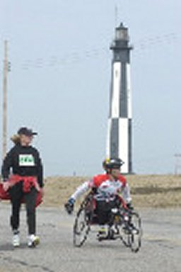 Buddy Hayes and Shirley at the light house in the Shamrock marathon.