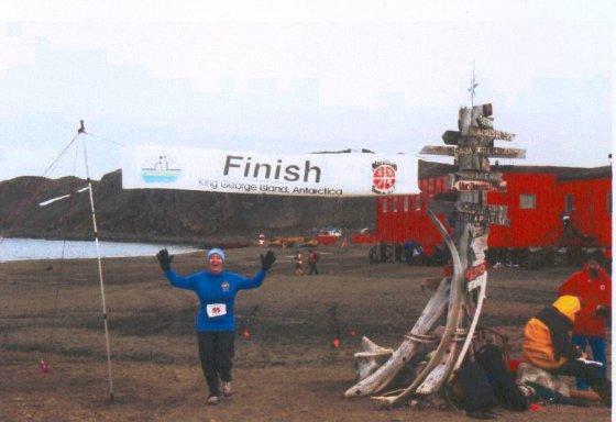 Mieka Tomko-Gerard finishing the 2005 Antarctica Marathon February 26, 2005