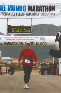 Mieka Tomko-Gerard getting 3rd place age group finish at the Fin del Mundo Marathon Ushuaia, Argentina March 6, 2005