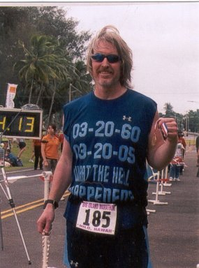Brad Thern after finishing the Big Island Marathon in Hawaii 03/20/05