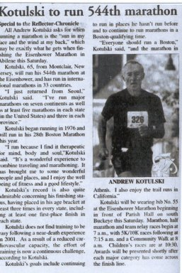 Andy Kotulski ran his 544th Marathon at the Eisenhower Marathon in Abilene, Texas. This article was in the Reflector-Chronicle