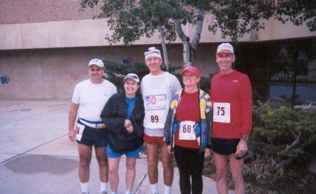 John Connor, Gloria Aguillara, Bill Whipp, Layne Riebel, and Jim Simpson at Estes Park Marathon.