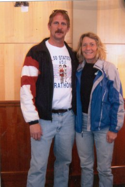 Jerry Schaver and Marie Bartoletti at Lincoln Marathon luncheon 5/01/05.