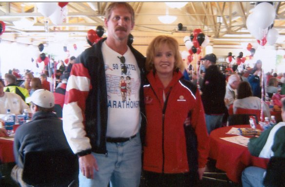 Lincoln awards luncheon 5/01/05. Jerry Schaver with Lincoln Marathon Race Director Nancy Sutton.