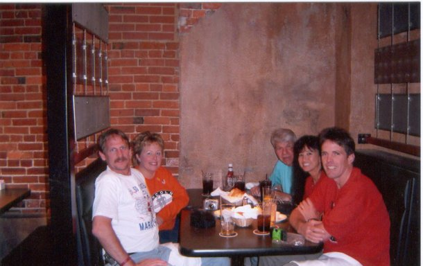 Celebration dinner at Lazlo's after the Lincoln Marathon 5/01/05. Jerry Schaver, Laurie Church, Mike Burke, Shirley Pratt, and Daniel Sinigallia.
