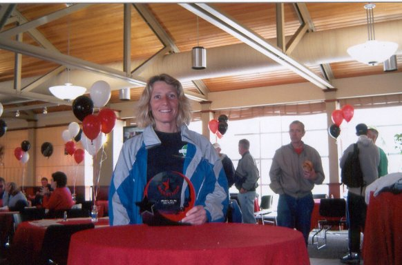 Marie Bartoletti won 3rd place in her age division at the Lincoln Marathon 5/01/05.