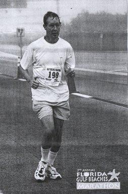 Edward Douglas running the 3rd Annual Florida Gulf Beaches Marathon.