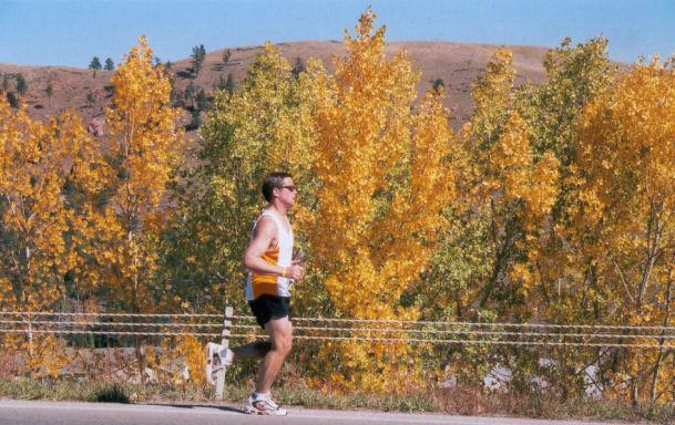 Stephen Gorny running the Mt. Rushmore Marathon on his 37th Birthday 10/10/04