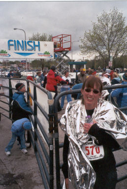 Mary Schumann after finishing the Fargo Marathon on a cold and windy day. Mary had a time of 4:08:23. Great Job Mary!!!!!!!!