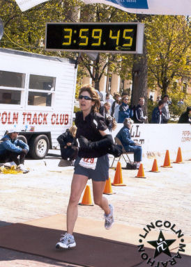 Lisa Gorrone is finishing the Lincoln Marathon on May 1, 2005 with a time of 3:59:13. Great Job Lisa!!!!!
