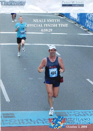 Neale Smith finished the Portland Marathon with finish time of 4:59:29 on October 3, 2004.