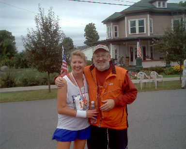 Meta Minton and husband David Towns greeting her at the finish of the Adirondack Marathon on September 26, 2005. He hasn't missed a marathon yet!