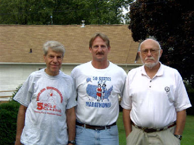 Daniel Sinigallia, Jerry Schaver, and Don McNelly getting ready to go to the Quad City Marathon Expo September 24, 2005