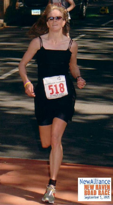 Rebecca Wright run the New Haven Road Race on September 5th, 2005.