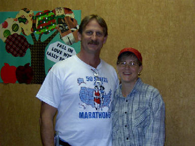 Jerry Schaver and Bekkie Wright meeting up at the Green Mountain Marathon in Vermont October 15, 2005