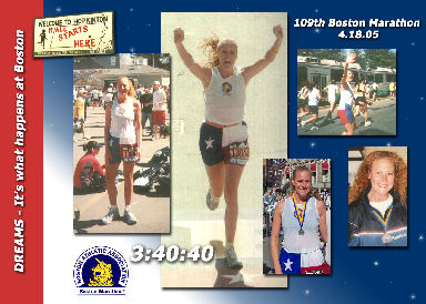 Kelly Richards from Texas ran the 109th Boston Marathon on 04/18/05 with the time of 3:40:40