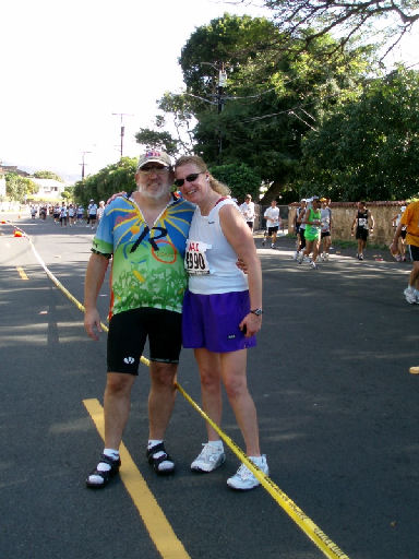Meta Minton and husband, David, at the 24 mile marker at the Honolulu Marathon on 12/11/05.