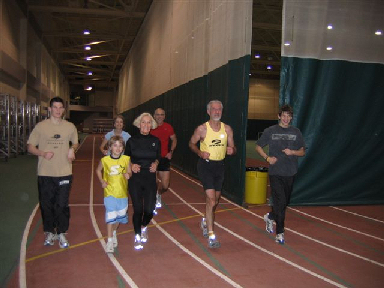 Jerry Dunn, founder and Event Director of the Deadwood Mickelson Trail Marathon is pictured running 60 miles on January 25, 2006, around an indoor track at the Young Fitness Center at Black Hills State University. The run is to kick off The Lean Horse Fou