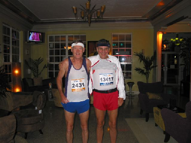 Maddog and Frank at the 'luxury' hotel getting ready to go to the start line of the Miami Marathon January 29, 2006.