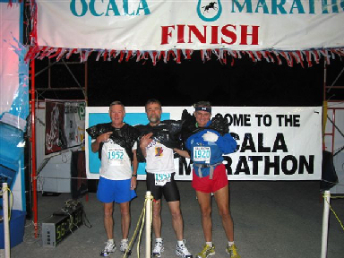 Maddog, Dr Dick and Frank at the start of the Ocala Marathon
