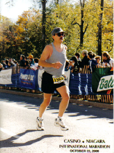Barry Warren enjoying the International Marathon in Niagara Falls 10/22/00.
